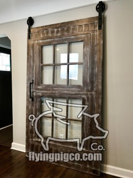 Walnut Distressed Sash Window Door 4